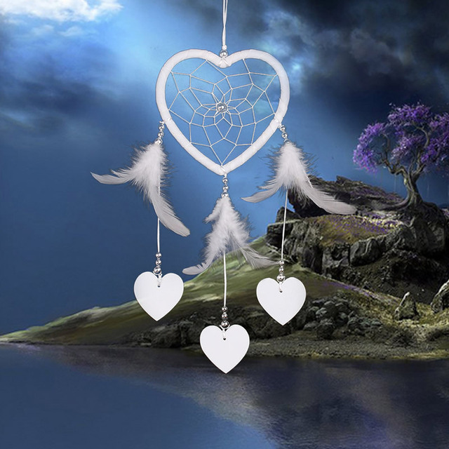Dream Catcher Garden Decor Hanging With White Feathers Heart Decoration Dreamcatcher Net India House Car