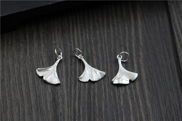 Real 925 Sterling Silver DIY Leaf Charm Pendant Suit Bracelet Pendant Necklace Making Fine Jewelry Accessories Findings A0230 in Charms from Jewelry Accessories