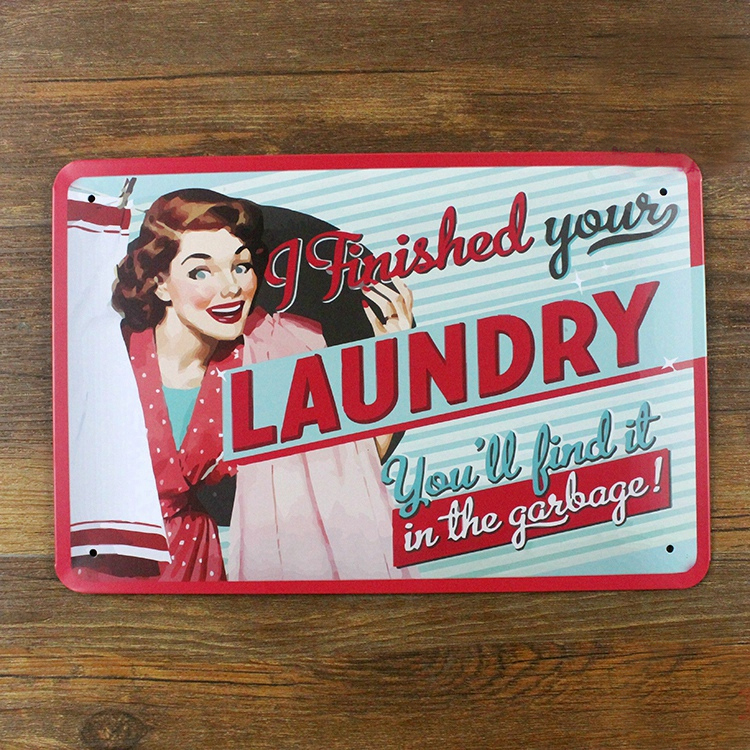Free ship Bar Pub Cafe Tin Sign Metal Painting Vintage Wall Home Decoration Iron Retro Crafts Plaque 20x30cm LAUNDRY Sexy Lady