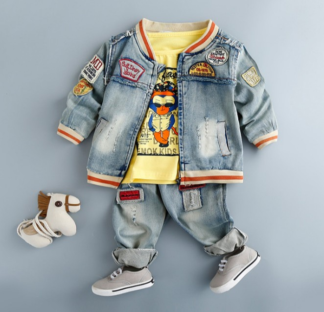 new 2017 spring baby boy cartoon denim jacket+t-shirt+pant clothing sets 3pcs kids spring autumn clothes sets boys jeans  free shipping spring autumn boys t shirt 5pcs lot high quality baby boy t shirt