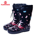 FLAMINGO branded 2017 new collection spring-autumn fashion gumboots with wool quality anti-slip kids shoes for girls 71-HL-0005