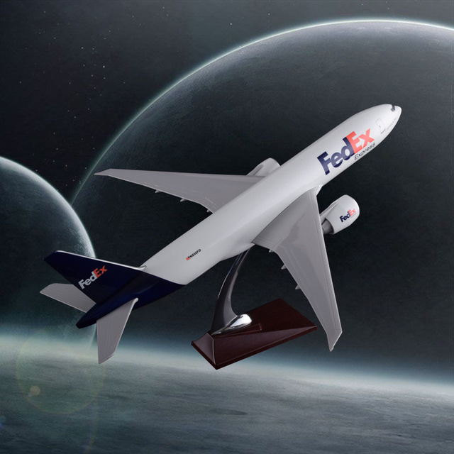 47cm Resin Boeing 777 FedEX Airlines Model Airplane Airbus Fedex Express Cargo Plane Model B777 Aviation Aircraft Model Gift Toy