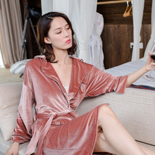 Spring and Autumn Luxury Velvet Flat Flannelette V-neck Collar Color Block Women's Paragraph Kimono Sleepwear Nightgown Robe(China)