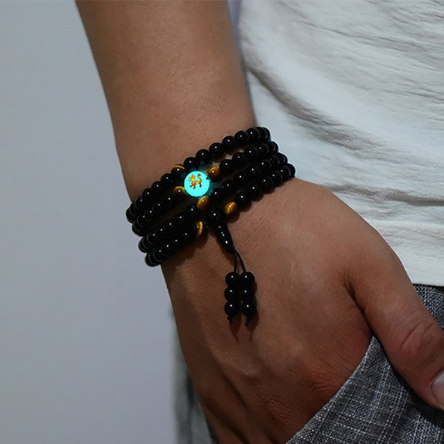 BOEYCJR Dragon Black Buddha Beads Bangles & Bracelets Handmade Jewelry Ethnic Glowing in the Dark Bracelet for Women or Men 2018