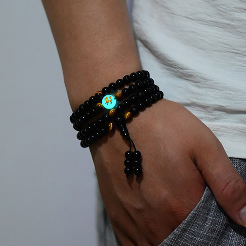 BOEYCJR Dragon Black Buddha Beads Bangles & Bracelets Handmade Jewelry Ethnic Glowing in ...