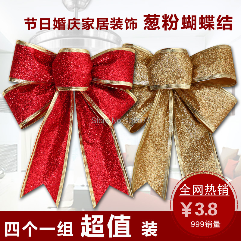 Christmas Decoration Wedding Gift : 35 / 45CM Christmas bow Glitter mall holiday decorations wedding gift ...
