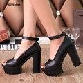 FAMIAO 2017 Сандалии Платформы Высокой пятки лодыжки обертывания обувь новый женский насосы Моды ПУ случайные летние сандалии