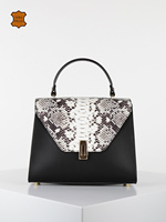 Woman snake skin pattern patch color metal fashion office bag handbag