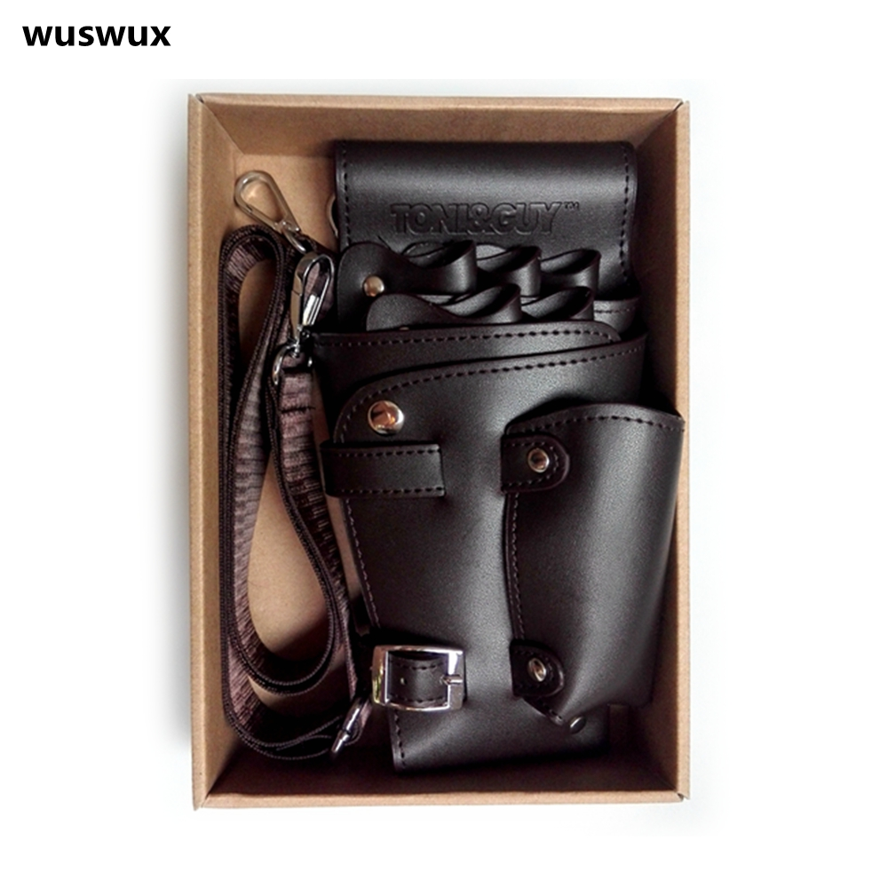 PU Leather Rivet Hair Scissor Bag Clips Bag Hairdressing Barber Scissor Holster Pouch Holder Case With Waist Shoulder Belt Brown