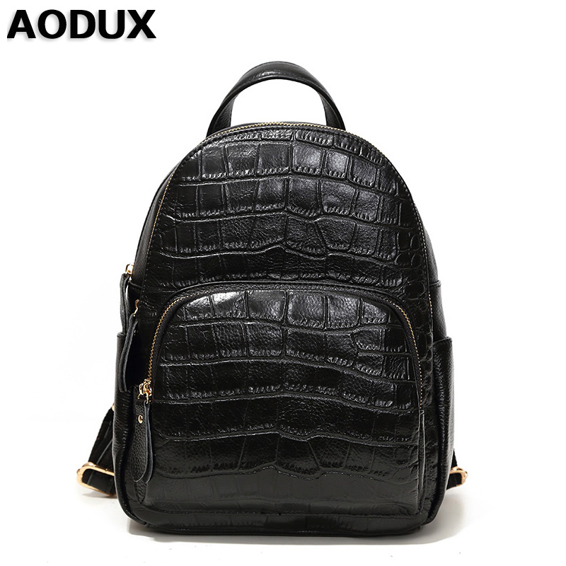 AODUX Backpacks Genuine Leather Women Ladies Stone Pattern Backpack Cowhide Girl School Bag Light Gray/Gray/Taro/Dark Blue/Black chic ethnic paisley pattern dark blue voile scarf for women