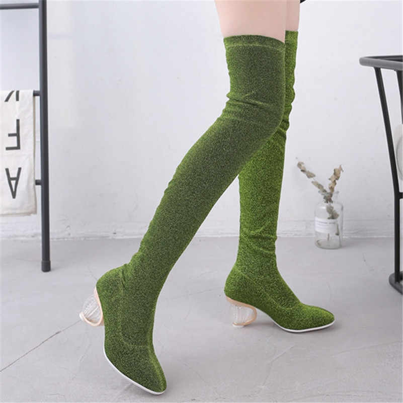 FEDONAS sonbahar kış kadın Slip-on diz çizmeler üzerinde moda sıkı yüksek topuklu Chelsea çizmeler parti balo dans ayakkabıları kadın