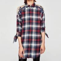 UK7318 Za Women Foral Embroideried Lace Patchwork See Through Blouses Plaid Shirt Cotton Womens Camisa Blusas