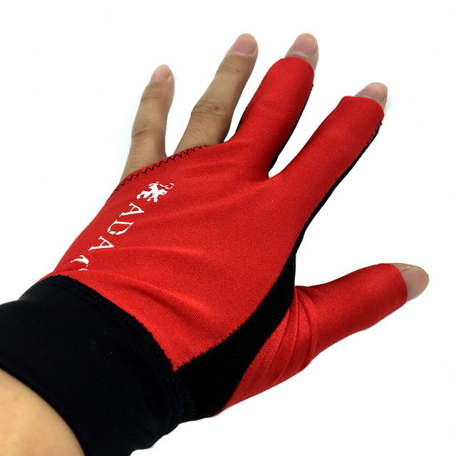 10pcs/lot High elastic fabric Adam Billiards Gloves free shipping Half-finger and left-hand Punch sheet snooker cue gloves 2