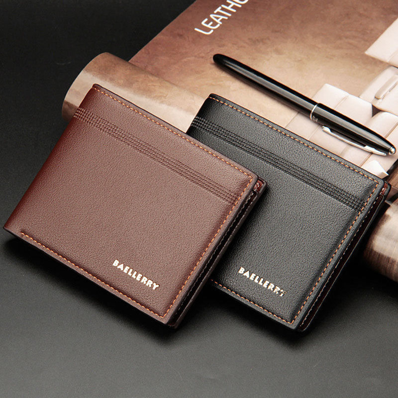 New Casual Men's Bifold Business Leather Vintage Wallet Letter Print Striped ID Card Holder Purse