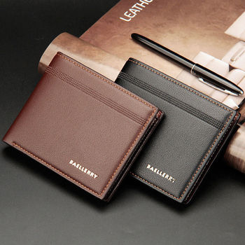 цена на New Casual Men's Bifold Business Leather Vintage Wallet Letter Print Striped ID Card Holder Purse