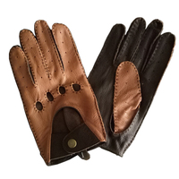 Autumn and Spring Men Leather Gloves Genuine Goatskin Fashion Male Wrist Breathable Unlined Driving Gloves Mittens Free Shipping