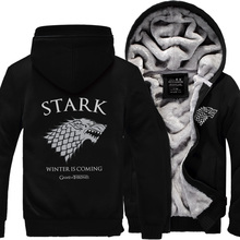 hot sale 216 autumn winter Game of Thrones sweatshirt Men House Stark Mens thick  jacket A Song Ice and Fire Winter Is Coming