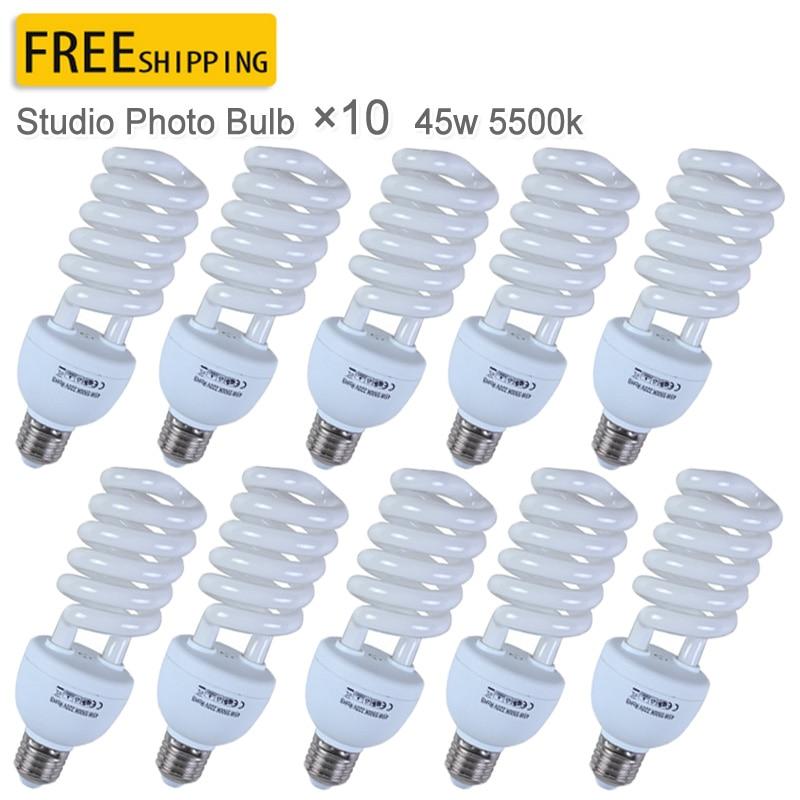 10PCS Pro E27 220V 45W 5500K Photo Video Bulb Photography Studio Light Lamp Freeshipping&Wholesale