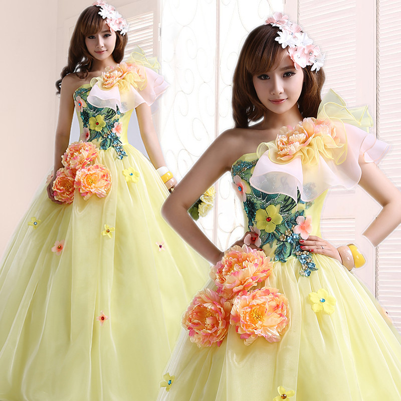 Quinceanera Dresses 2015 The Princess Sweet Yellow One Shoulder Beading Lace Flower Ball Gown Plus Size