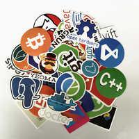 TD ZW 50Pcs Internet Programming Stickers Java JS Php Html Cloud Docker Bitcoin Programming Language APP Logo Laptop Stickers
