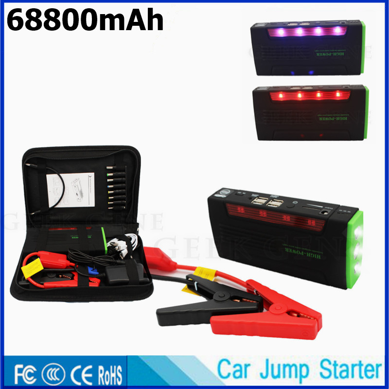 Car Battery Charger 68800mAh Car Jump Starter 4USB Power Bank Portable Car Starter Lighter Starting Device For Diesel Petrol LED mini usb led lamp portable bendable keyboard usb light for ultrabook notebook laptop power bank adapter wall car charger