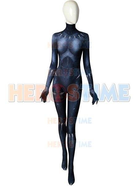 Spandex Printing Female Black Panther 2018 Version Superhero Costume Halloween Zentai Cosplay Black Panther Bodysuit Custom Made