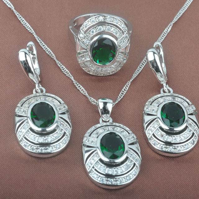 Newst Green  Stone Women's      925 Sterling Silver Jewelry Sets Necklace Pendant Earrings Rings Free Shipping TZ056