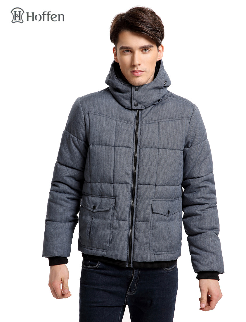 ФОТО Hoffen Fashion Design Winter Men's Padding Jacket Coat With Hood Casual Solid Quilted Jacket Male Parkas European Size TORSTL