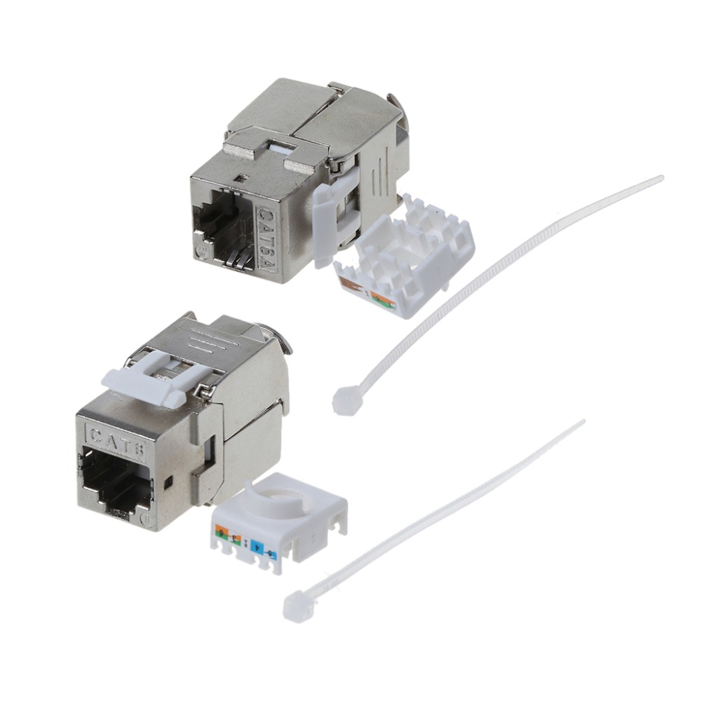 1Pc RJ45 Keystone Cat6 Cat6A Shielded FTP Zinc Alloy Module Keystone Jack Network Connector Adapter