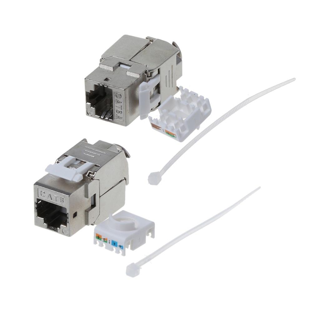 1Pc RJ45 Keystone Cat6 Cat6A Shielded FTP Zinc Alloy Module Keystone Jack Network Connector Adapter