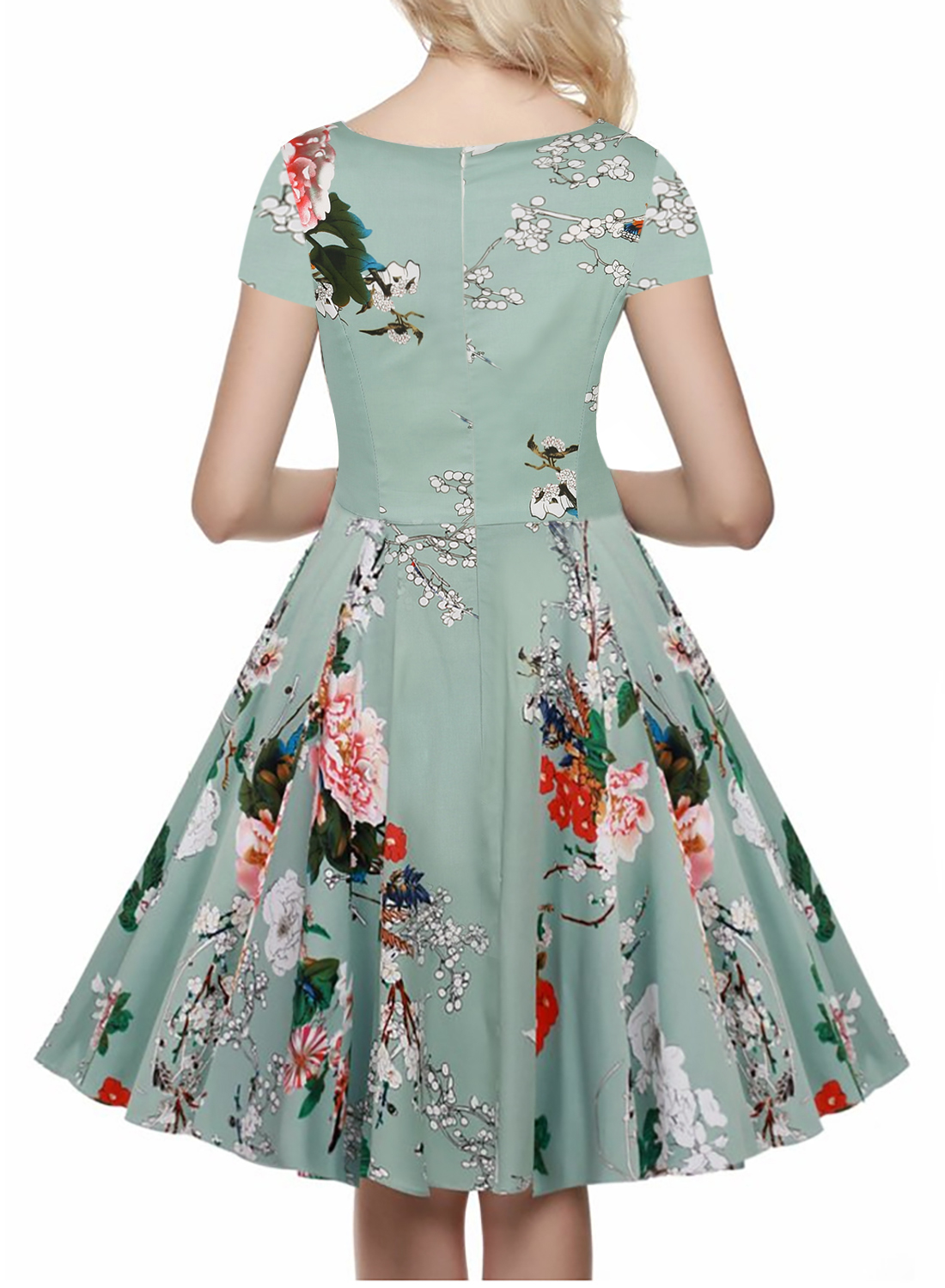 Oxiuly 2017 Women 1950s 50s 60s Vintage Rockabilly Floral Swing V ...