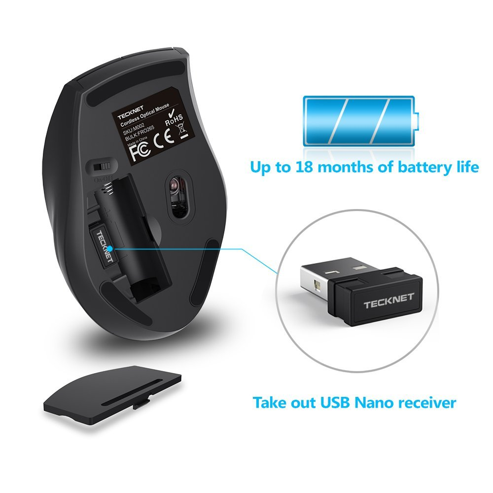 44b923746b7 TeckNet M002 Nano Wireless Mouse,6 Buttons,18 Month Battery Life,2000 DPI 3  Adjustment Levels Grey -in Mice from Computer & Office on Aliexpress.com ...