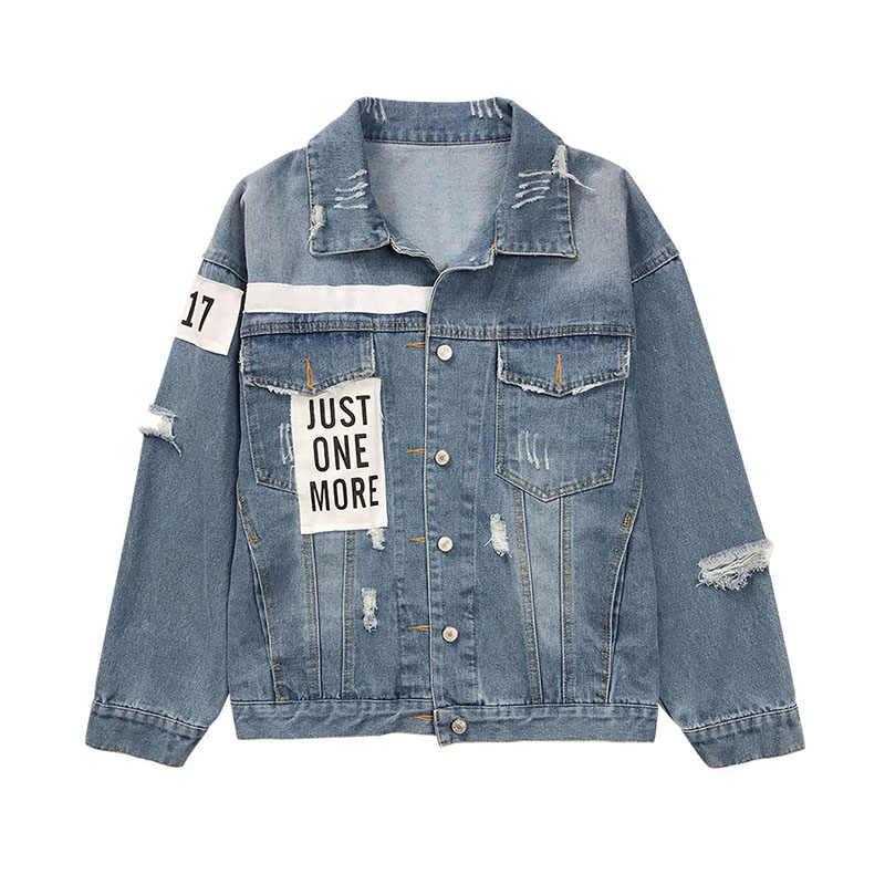 1232506e5 Harajuku BF Unisex Denim Jacket Hip Hop Loose Oversize Denim Coat Women  Tops Jacket Hole Printed Jean Jackets Female Coat Kimono
