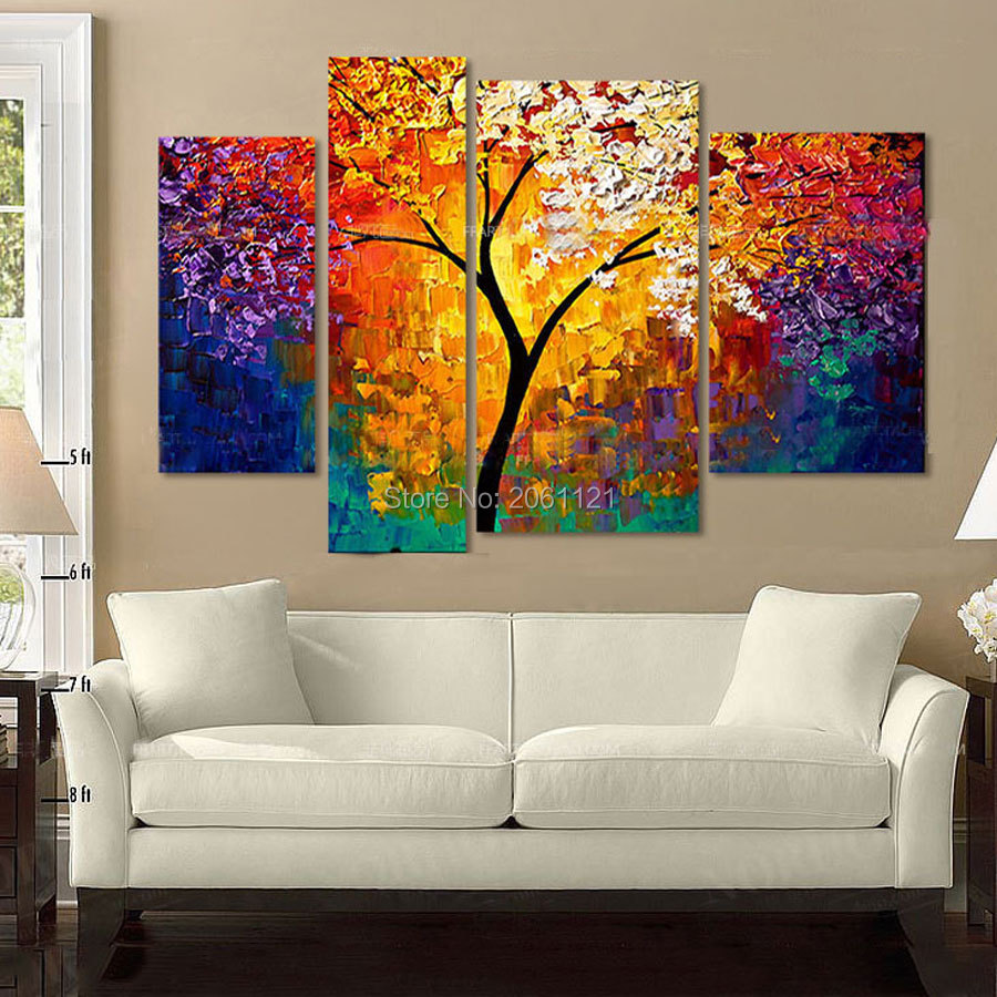 Hand painted modern home decor wall art picture BURNING SUN TREE thick palette font b knife