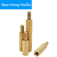 M2*L+3mm Brass Round knurl Standoff Male Female Threaded Pillar PCB Motherboard Spacer M2 m2 brass male female standoff pillar mount threaded pcb motherboard pc computer round spacer hollow bolt screw long nut