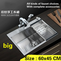 Free Shipping Fashion Kitchen Sink Big Durable 304 Stainless Steel Hand Made Single Slot Hot Sell