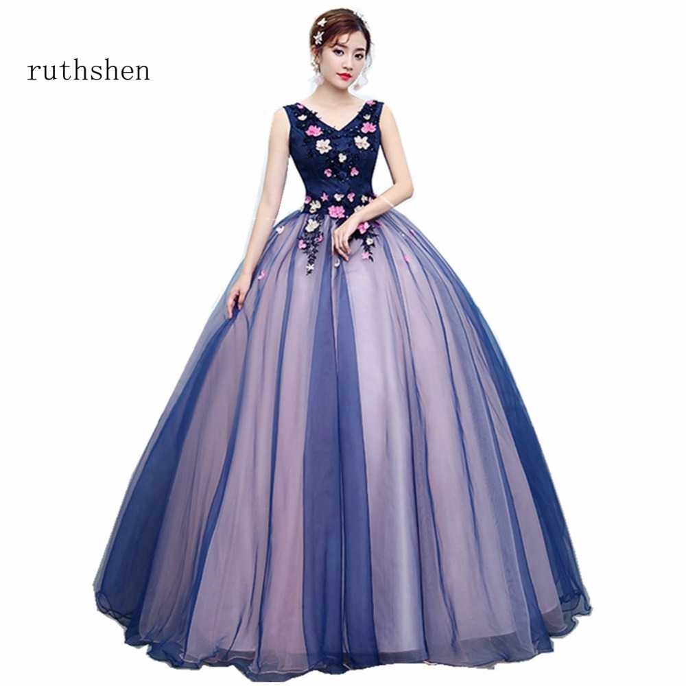 ruthshen Prom Dresses 2018 Cheap New V Neck Lace Appliques Beaded Long Prom Evening Gowns Navy