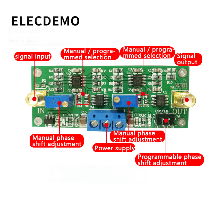 Image 2 - MCP41010 Precision Programmable Phase Shift Amplifier 0 360 Degree Adjustable  Adjustable Phase Shifter Circuit Module Board-in Demo Board Accessories from Computer & Office