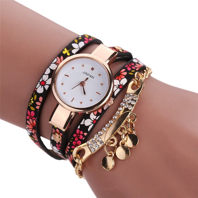 Fashion Sleek And Chic Casual Quartz Wrist Watch Rhinestone Decoration Ladies Le
