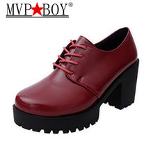 MVP BOY 2018 New fashion women shoes thick high heels platform shoes woman shoes spring autumn women pumps ladies shoes(China)