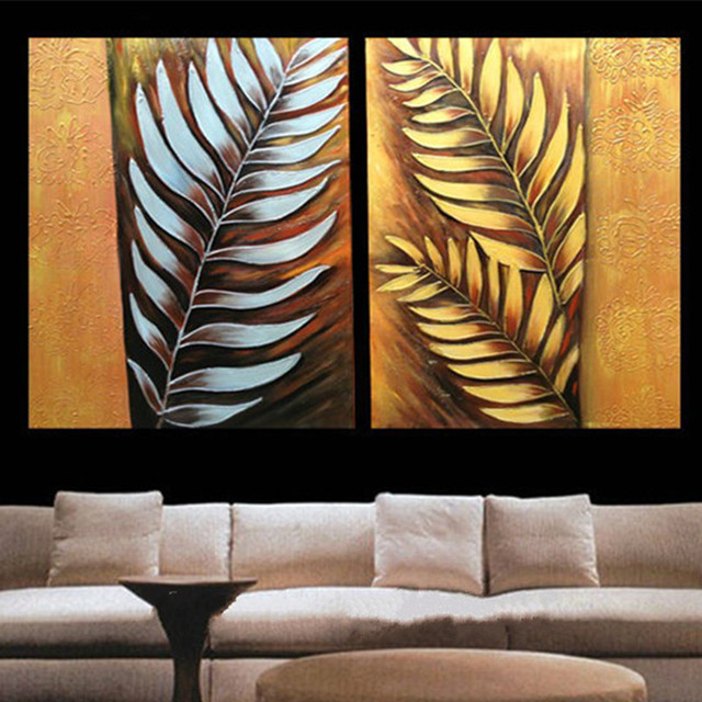 Handpainted Modern Abstract Oil Paintings On Canvas Gold Silver Leafs Pictures 2 Panel Wall Painting Home