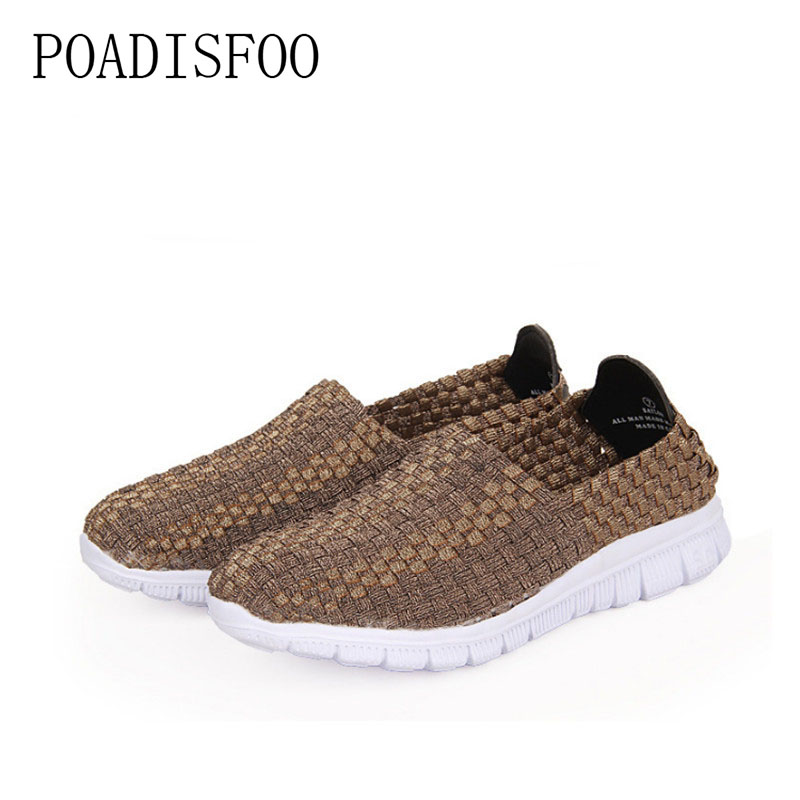 POADISFOO 2017 Fashion Women Casual Shoes Slip On Summer Woven Loafers Women's flats Style Women Breathable Woven Shoes.LX-2688  poadisfoo 2017 new summer style slip on women sandals flats for women black white color slippers shoes women hykl 1603