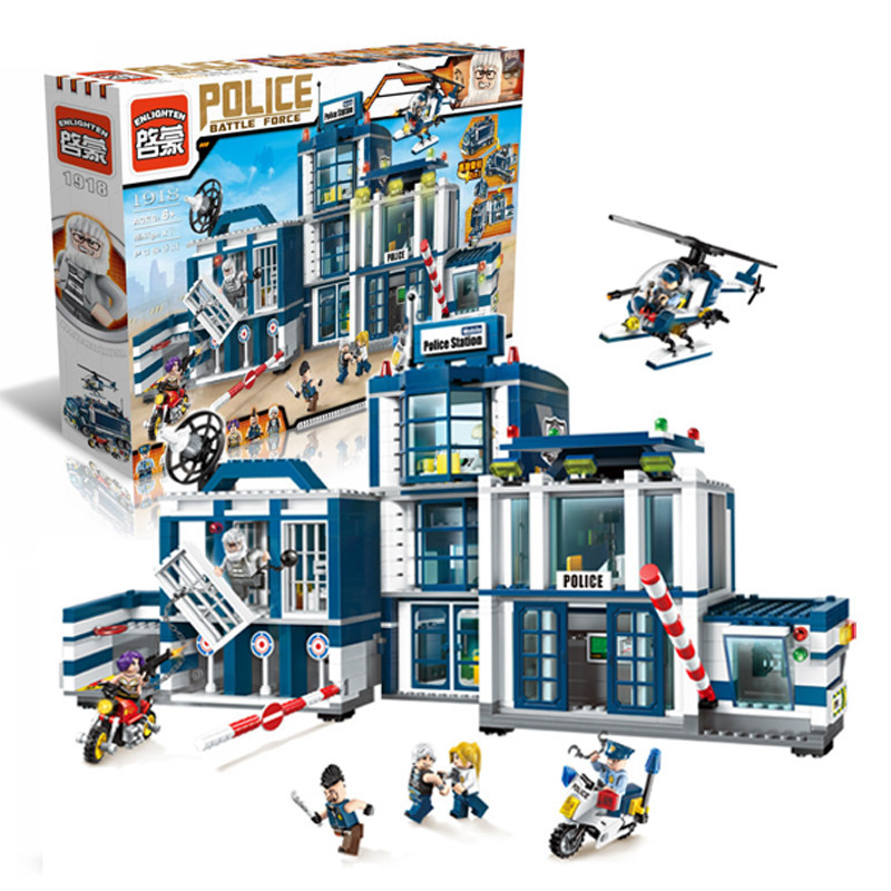 Enlighten Police Station Helicopter Model building kits compatible with lego city 3D blocks Educational toys hobbies to children