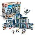Estación de policía enlighten helicóptero kits de edificio modelo compatible con lego city 3d bloques educativos juguetes aficiones para niños