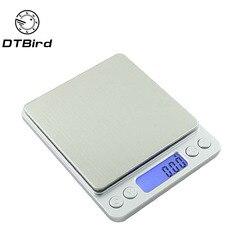 500x0.01g Portátil Mini balança Eletrônica Escalas de Alimentos Caso Bolso Jóias Equilíbrio de Peso Balança Digital Postal Cozinha Com 2 bandeja DT6