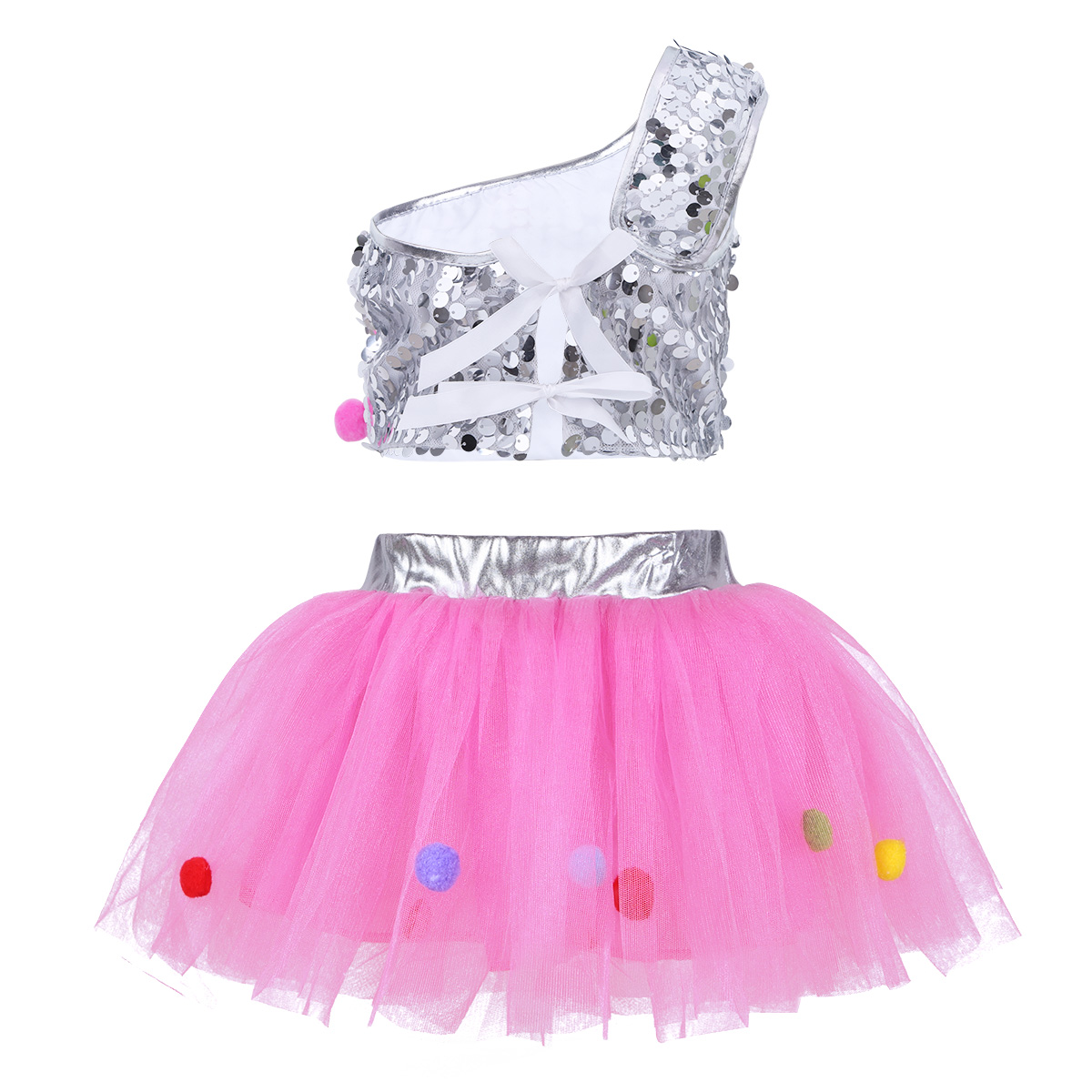 2e3d7b7861ed iEFiEL Children Girls Outfits Sequins Sets Crop Top with Mesh Tutu Skirt  Hair Clip for Jazz Ballet Dancing Stage Performance-in Clothing Sets from  Mother ...