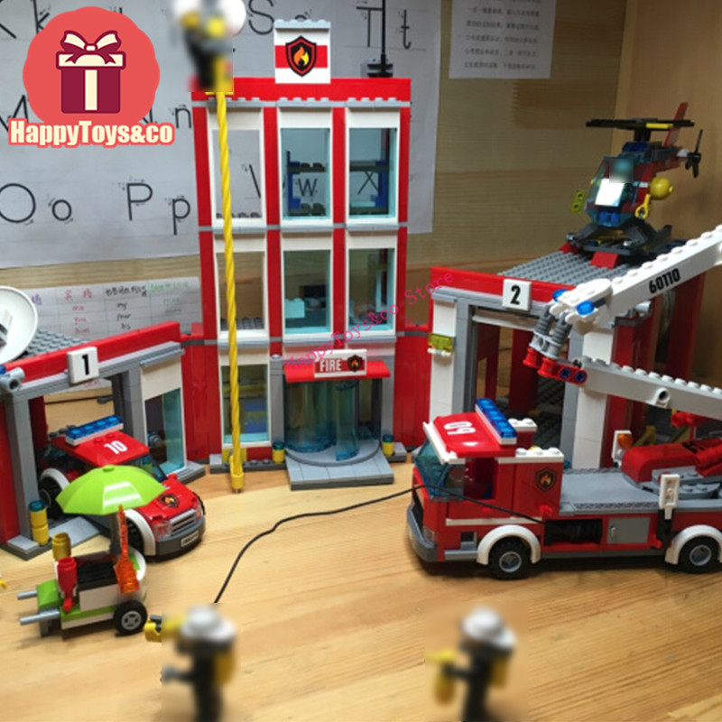 Legoing City series 60110 1029Pcs The Fire Station toys For Children Gift 02052 Building Blocks Set Compatible Education ideal amaze marbles 45 60 piece wooden building blocks learning education classic wood construction set gift toys for children
