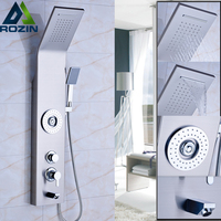 Brushed Nicke Bath Shower Panel Set with 5 Water Outlet Functions Bathroom Shower Column Tower with Handshower Body SPA Massages
