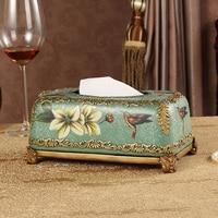 C furniture decorative ceramic resin tissue box three piece retro ornaments crafts wedding gift