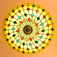Тиффани Средиземноморский стиль Павлин натуральный Shell Потолочные светильники люстры ночь светодиодная лампа пол бар домашнего освещения